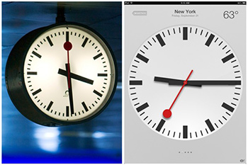 The swiss railway clock on the left, copied without permission by Apple.